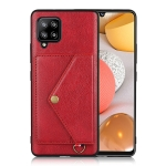 For Samsung Galaxy A42 5G Litchi Texture Silicone + PC + PU Leather Back Cover Shockproof Case with Card Slot(Red)