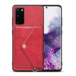 For Samsung Galaxy S20 Litchi Texture Silicone + PC + PU Leather Back Cover Shockproof Case with Card Slot(Red)
