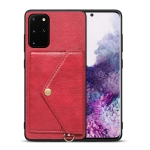 For Samsung Galaxy S20+ Litchi Texture Silicone + PC + PU Leather Back Cover Shockproof Case with Card Slot(Red)