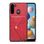 For Samsung Galaxy A21 EU Version Litchi Texture Silicone + PC + PU Leather Back Cover Shockproof Case with Card Slot(Red)