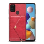 For Samsung Galaxy A21s EU Version Litchi Texture Silicone + PC + PU Leather Back Cover Shockproof Case with Card Slot(Red)