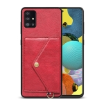 For Samsung Galaxy A51 Litchi Texture Silicone + PC + PU Leather Back Cover Shockproof Case with Card Slot(Red)