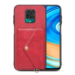 For Xiaomi Redmi Note 9 Pro Litchi Texture Silicone + PC + PU Leather Back Cover Shockproof Case with Card Slot(Red)