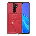 For Xiaomi Redmi 9 Litchi Texture Silicone + PC + PU Leather Back Cover Shockproof Case with Card Slot(Red)