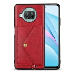 For Xiaomi Mi 10T Lite 5G Litchi Texture Silicone + PC + PU Leather Back Cover Shockproof Case with Card Slot(Red)