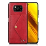 For Xiaomi Poco X3 NFC Litchi Texture Silicone + PC + PU Leather Back Cover Shockproof Case with Card Slot(Red)