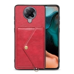 For Xiaomi Redmi K30 Pro Litchi Texture Silicone + PC + PU Leather Back Cover Shockproof Case with Card Slot(Red)