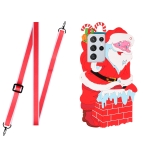 For Samsang Galaxy S21 Ultra 5G Christmas Series Silicone Shockproof Case with Neck Lanyard(Santa Claus)