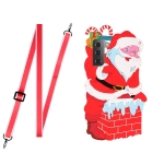 For Samsang Galaxy S21 FE 5G Christmas Series Silicone Shockproof Case with Neck Lanyard(Santa Claus)