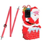 For Samsang Galaxy S20 Ultra Christmas Series Silicone Shockproof Case with Neck Lanyard(Santa Claus)
