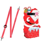 For Samsang Galaxy S10 Christmas Series Silicone Shockproof Case with Neck Lanyard(Santa Claus)