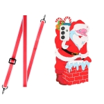 For Samsang Galaxy A72 5G / 4G Christmas Series Silicone Shockproof Case with Neck Lanyard(Santa Claus)