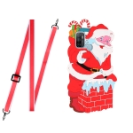 For Samsang Galaxy A21s Christmas Series Silicone Shockproof Case with Neck Lanyard(Santa Claus)