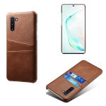 For Samsung Galaxy Note10 Calf Texture PC + PU Leather Back Cover Shockproof Case with Dual Card Slots(Brown)