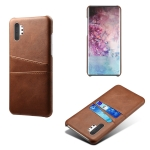 For Samsung Galaxy Note10+ Calf Texture PC + PU Leather Back Cover Shockproof Case with Dual Card Slots(Brown)