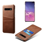 For Samsung Galaxy S10+ Calf Texture PC + PU Leather Back Cover Shockproof Case with Dual Card Slots(Brown)