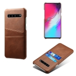 For Samsung Galaxy S10 5G Calf Texture PC + PU Leather Back Cover Shockproof Case with Dual Card Slots(Brown)
