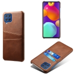 For Samsung Galaxy M62 Calf Texture PC + PU Leather Back Cover Shockproof Case with Dual Card Slots(Brown)