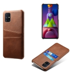 For Samsung Galaxy M51 Calf Texture PC + PU Leather Back Cover Shockproof Case with Dual Card Slots(Brown)