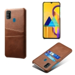 For Samsung Galaxy M30s Calf Texture PC + PU Leather Back Cover Shockproof Case with Dual Card Slots(Brown)