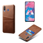For Samsung Galaxy M30 Calf Texture PC + PU Leather Back Cover Shockproof Case with Dual Card Slots(Brown)