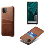For Samsung Galaxy M12 Calf Texture PC + PU Leather Back Cover Shockproof Case with Dual Card Slots(Brown)