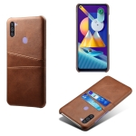 For Samsung Galaxy M11 Calf Texture PC + PU Leather Back Cover Shockproof Case with Dual Card Slots(Brown)