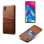 For Samsung Galaxy M10 Calf Texture PC + PU Leather Back Cover Shockproof Case with Dual Card Slots(Brown)