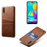 For Samsung Galaxy M01 Calf Texture PC + PU Leather Back Cover Shockproof Case with Dual Card Slots(Brown)