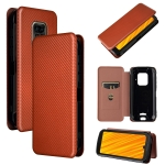 For Doogee S59 / S59 Pro Carbon Fiber Texture Magnetic Horizontal Flip TPU + PC + PU Leather Case with Card Slot(Brown)