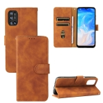 For Doogee N40 Pro Solid Color Skin Feel Magnetic Buckle Horizontal Flip PU Leather Case with Holder & Card Slots & Wallet(Brown)
