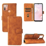 For HTC Desire 20+ Solid Color Skin Feel Magnetic Buckle Horizontal Flip PU Leather Case with Holder & Card Slots & Wallet(Brown)