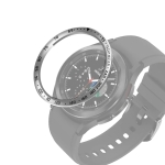 For Samsung Galaxy Watch4 Classic 46mm Smart Watch Steel Bezel Ring, E Version(Silver Ring Black Letter)