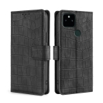 For Google Pixel 5A Skin Feel Crocodile Texture Magnetic Clasp Horizontal Flip PU Leather Case with Holder & Card Slots & Wallet(Black)