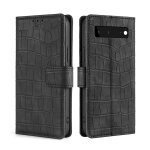 For Google Pixel 6 Skin Feel Crocodile Texture Magnetic Clasp Horizontal Flip PU Leather Case with Holder & Card Slots & Wallet(Black)