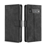 For Google Pixel 6 Pro Skin Feel Crocodile Texture Magnetic Clasp Horizontal Flip PU Leather Case with Holder & Card Slots & Wallet(Black)