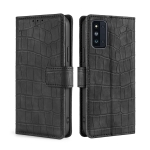 For Samsung Galaxy F52 5G Skin Feel Crocodile Texture Magnetic Clasp Horizontal Flip PU Leather Case with Holder & Card Slots & Wallet(Black)