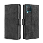 For Samsung Galaxy M12 / F12 Skin Feel Crocodile Texture Magnetic Clasp Horizontal Flip PU Leather Case with Holder & Card Slots & Wallet(Black)