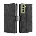 For Samsung Galaxy S21 FE 5G Skin Feel Crocodile Texture Magnetic Clasp Horizontal Flip PU Leather Case with Holder & Card Slots & Wallet(Black)