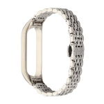 For Xiaomi Mi Band 4 / 3 Seven-beads Stainless Steel Replacement Strap Watchband(Silver)