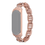 For Xiaomi Mi Band 4 / 3 8-shaped Diamond Alloy Replacement Strap Watchband(Rose Gold)