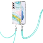 For Samsung Galaxy S21+ 5G Electroplating Marble Pattern IMD TPU Shockproof Case with Neck Lanyard(Green 004)