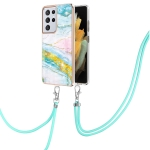 For Samsung Galaxy S21 Ultra 5G Electroplating Marble Pattern IMD TPU Shockproof Case with Neck Lanyard(Green 004)