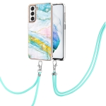 For Samsung Galaxy S21 FE 5G Electroplating Marble Pattern IMD TPU Shockproof Case with Neck Lanyard(Green 004)