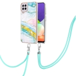 For Samsung Galaxy A22 4G EU Version 158mm Electroplating Marble Pattern IMD TPU Shockproof Case with Neck Lanyard(Green 004)