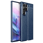 For Samsung Galaxy S22 Ultra Litchi Texture TPU Shockproof Case(Blue)