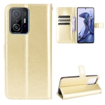 For Xiaomi Mi 11T / 11T Pro Crazy Horse Texture Horizontal Flip Leather Case with Holder & Card Slots & Lanyard(Gold)