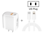 CS-20W Mini Portable PD3.0 + QC3.0 Dual Ports Fast Charger with 3A Type-C to 8 Pin Data Cable(US Plug)