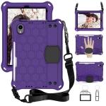 Honeycomb Design EVA + PC Material Four Corner Anti Falling Flat Protective Shell With Strap For iPad mini 6 2021(Purple+Black)