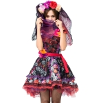 PS8527 Halloween Costume Rose Skull Print Ghost Bride Dress, Size: XXL(Red)